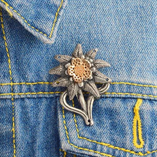 Enamel Pin Badge Cute Creative Brooch for Jackets Backpacks Clothes, WW2 German Army Elite Mountain Edelweiss Badge Denim Jacket Collar Brooch Pin