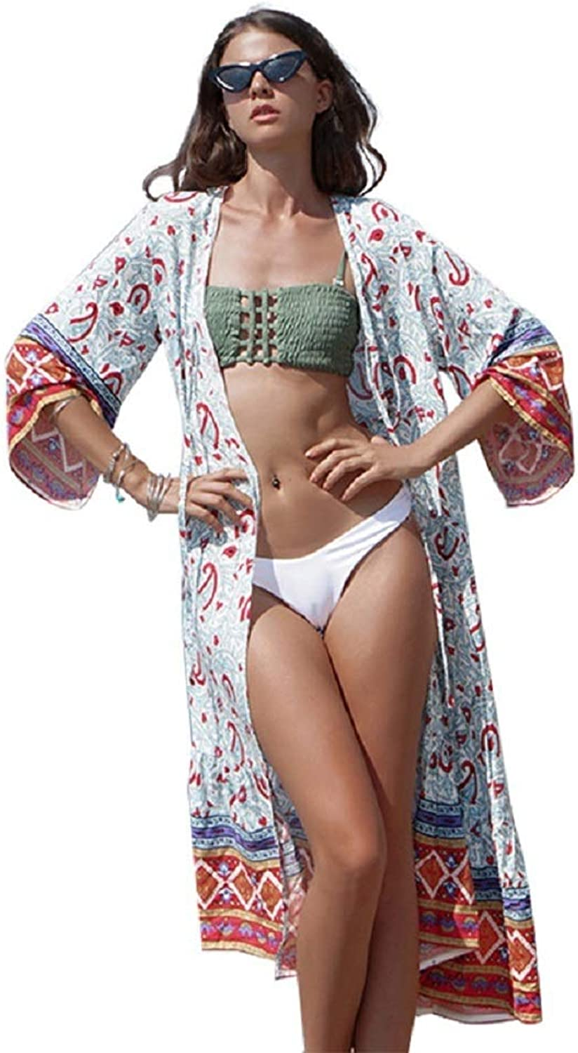 YJiaJu Sexy Beach Elegant Party Women Dress Spring Summer Sunscreen Cropped Sleeves Printed Long Laceup Cardigan Cotton VNeck SevenQuarter Sleeve (color   White, Size   M)