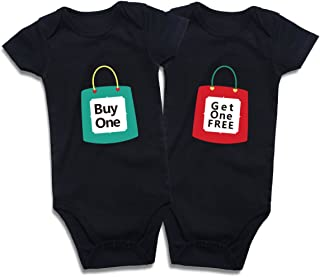 DEFAHN Funny Twins Baby Bodysuits Clothes Boys Girls Outfits for Newborn Infant