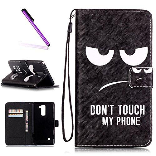 EMAXELERS LG Stylus 2 Hülle PU Leder Brieftasche Hülle Schutzhülle Tasche Ledertasche Kartenfach Flip Cover Wallet Case für LG Stylus 2 LS775/LG G Stylo 2 K520,Angry Face