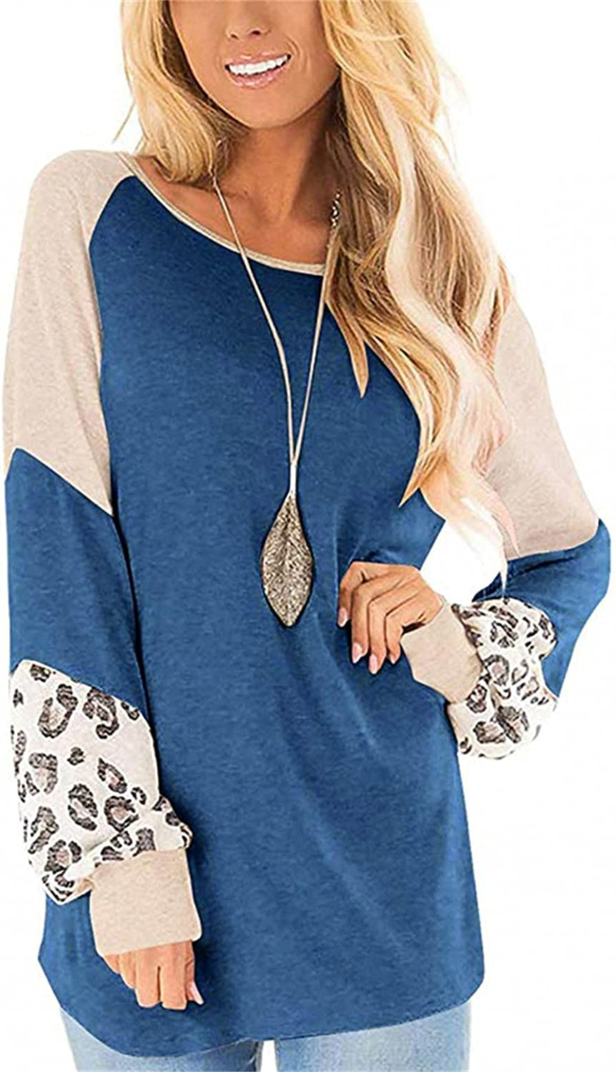 FABIURT Fall Clothes for Women,Womens Crewneck Sweatshirts Color Block Tunic Long Sleeve Sweaters Pullover Tops