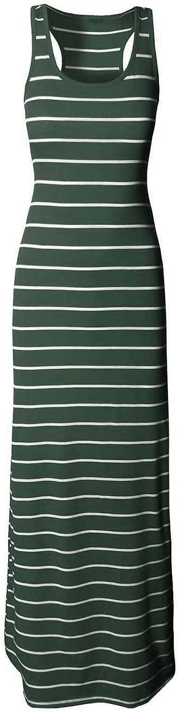 Makeitmint Women's Line Stripe Sleeveless Racerback Maxi Dress