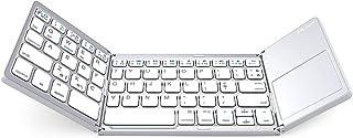 لوحة مفاتيح بلوتوث قابلة للطي، لوحة مفاتيح لاسلكية صغيرة الحجم قابلة للحمل بحجم الجيب مع لوحة لمس لأندرويد، ويندوز، الكمبي...
