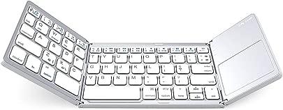 ZXYWW Drahtlose Klapptastatur  Tri-Folding-Bluetooth-Tastatur mit Aluminiumlegierungsbasis f r iOS Windows-Android-Tablets  Smartphones  Laptops  PC und mehr White