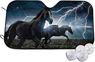 Running Black Horses with Lightning Pattern Automotive Windshield Sunshades, Durable Auto Front Window Sun Shade Visor Shield Cover for Car Auto Truck SUV,