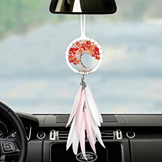 Handmade Dream Catcher Car Rear View Mirror Pendant Charm with Crystal Beads Pink and White Feather Dream Catchers