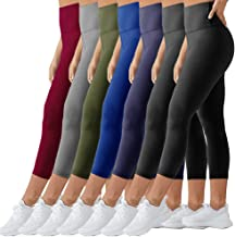 TNNZEET High Waist Capri Leggings for Women Opaque Slim Regular & Plus Size Elastic Buttery Soft Classic Yoga Pants