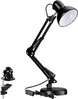 TORCHSTAR فلزی نوسانی لامپ میز ارغوانی، پایه قابل تعویض و یا گیره، کلیپ معماری کلاسیک در لامپ جدول، چند مشترک، بازوی قابل تنظیم، پایان سیاه (UL Plug)