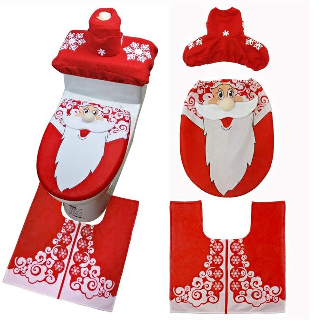 全部スカウトケーブルカーSwiftgood 3ピースクリスマストイレシート&カバーサンタクロースバスルームマットクリスマスかわいい装飾