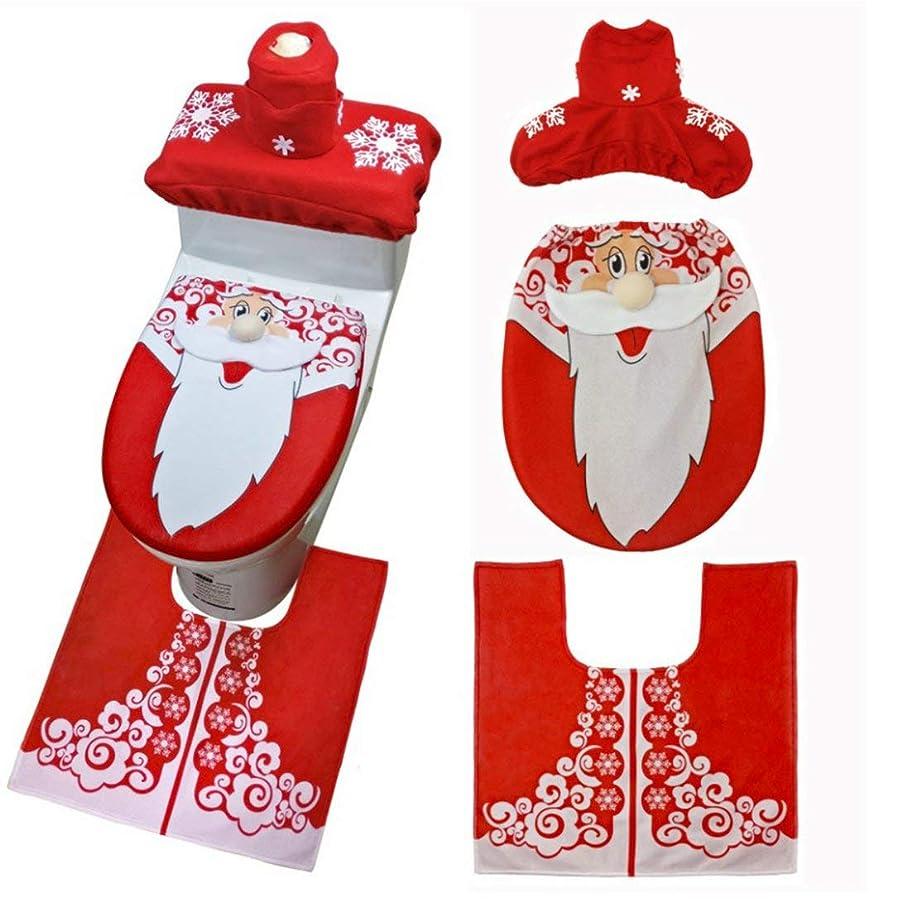 ビーチ毒性三角Swiftgood 3ピースクリスマストイレシート&カバーサンタクロースバスルームマットクリスマスかわいい装飾