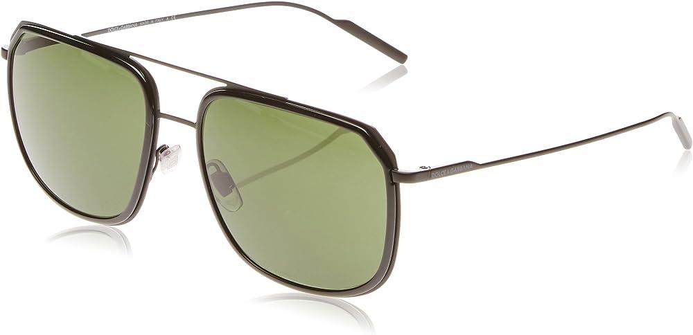 Dolce & gabbana, occhiali da sole per uomo, montatura in metallo, lenti color verde DG2165 C58