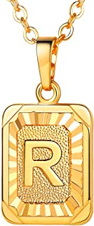 """U7 Monogram Necklace A-Z 26 Letters Pendants 18K Gold/Platinum Plated Square Tiny Initial Necklaces for Women Girls,Chain 18"""", with Customize Service, Gift Box Packed"""