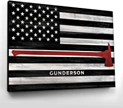 Pretty Perfect Studio Custom Thin Red Line, Firefighter Name Sign | 16x20 Ready-to-Hang Canvas, Personalized Fire Department Wall Art Gift, Fireman Home Decor