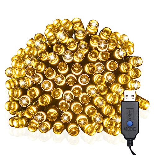 Tempo Upgraded Christmas String Lights,39ft 100LED 8 Modes Wire lights,Waterproof Rope Lights Seasonal Fairy Lights for Christmas, Home, Garden, Patio, Lawn and Party Decor(Warm White)