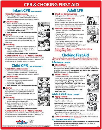Infant CPR and Choking Magnetic Laminated Card  Baby/Infant Choking Sign by Safety Magnets  Child and Adult CPR Instructions  First Aid  Heimlich Maneuver Chart  85 x 11 Inches 1 2 5 Packs