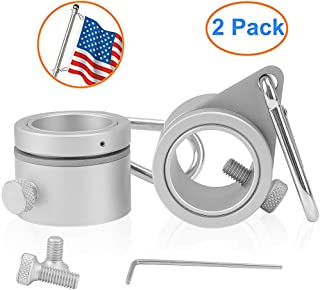 ROCEN Flag Pole Rings - 360° Rotating Flagpole Flag Mounting Rings - Aluminum Alloy Anti Wrap Flagpole Rings Clips Flag Parts Kit for 0.75-1 Inch Diameter Pole, Pack of 2