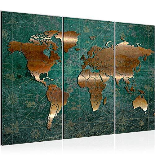 Runa Art Carte Du Monde Peinture Tableau Salon XXL Vert Marron Antique 120 x 80 cm 3 Parties Decoracion Murale 109031b