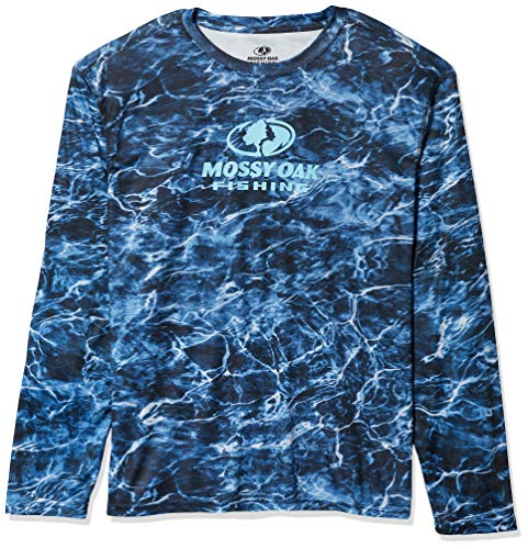 Staghorn Mens Long Sleeve Performance Tech Fishing Tee, Mossy Oak Elements Aqua Bluefin, X-Large