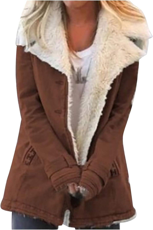 HGWXX7 Womens Coats Plus Size Lapel Fleece Lined Denim Jacket Oversized Long Sleeve Faux Fur Winter Coat with Pocket