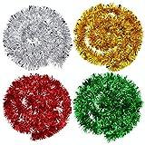 Guirnaldas de Navidad Metálicas Adornos de Árbol de Navidad Brillante para Decoraciones de Fiesta de Cumpleaños de Bodas de Navidad (Oro, Plata, Rojo y Verde)