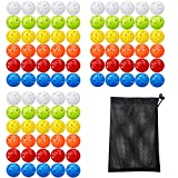 KISEER 90 Pack Colorful Plastic Practice Golf Balls Airflow Hollow Training Golf Balls with Nylon Mesh Golf Ball Bags for Driving Range, Swing Practice, Outdoor or Home Use