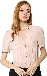 Allegra K Women's Ruffle V Neck Puff Sleeve Blouse Button Up Casual Tops