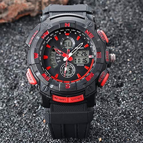 GLEMFOX Digitaal sporthorloge voor heren, multifunctioneel, waterdicht horloge met led-backlit casual watch voor heren Small rood