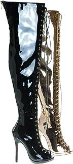 a0e4b3b556 Liliana Corset Military Lace Up OTK Over Knee Thigh High Boots w Heel &  Peep Toe