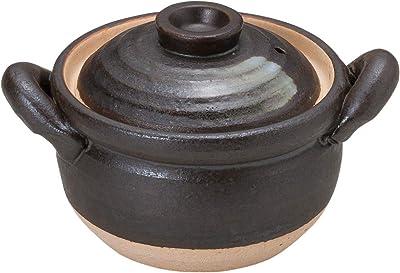 山下工芸 土鍋 陶器 16×φ12.5×10.5cm(身7.8cm) 黒陶刷毛目4号多用深鍋 15034470