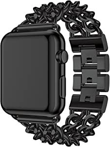 Seoaura Compatible Apple Watch Band 42mm 44mm, Stainless Steel Metal Cowboy Chain Style Replacement iWatch Series 6 5 4 3 2 1 SE Nike+ Sports Strap Wristband (Black, 42mm/44mm)