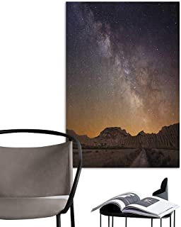 Wall Paintings self-Adhesive Night Milky Way Over Desert of Bardenas Spain Ethereal View Hills Arid Country Plum Apricot Chocolate Bedroom Wall W20 x H28