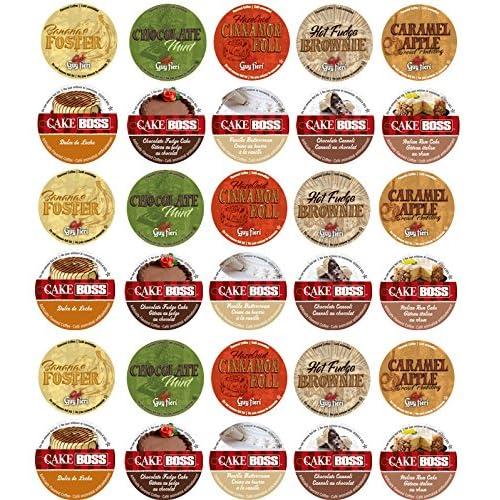 Amazon.com : 30 Cup Cake Boss® & Guy Fieri® Flavored Coffee Sampler! 10 Unique! New Flavors! Chocolate Cannoli, Italian Rum Cake, Hot Fudge Brownie, ...