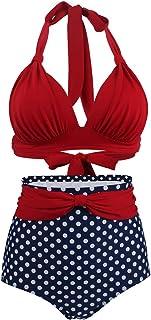 Lau's Conjuntos de Bikinis de Talle Algo para Mujer - Trajes de baño Vintage con Estampado de Lunares