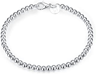 Cutesmile Fashion Jewelry 925 Sterling Silver 4mm Lucky Round Beads Bracelet for Women and Girls