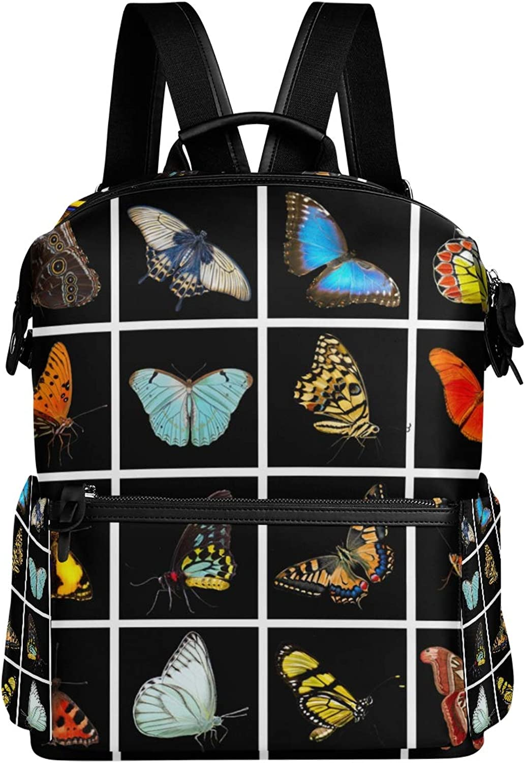 MONTOJ Beautiful colorful Butterflies Leather Travel Bag Campus Backpack