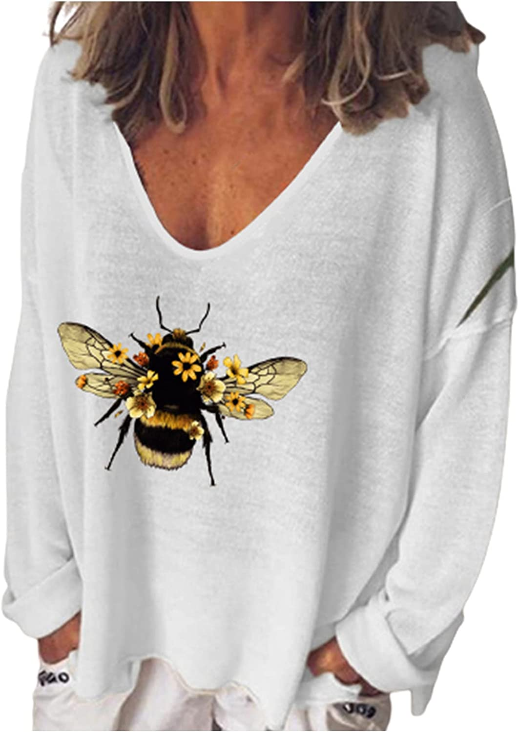 5665 Womens Cute Bee Print T-Shirt Casual Long Sleeve V-Neck Tops Sweatshirts Loose Fit Pullover Workout Tee Tunic Blouses