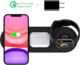 Kartice 3 in 1 Wireless Charger Compatible with Apple Watch Charger Series 5/4/3/2/1/Airpods Pro Wireless Charger, Fast Charger Stand for iPhone 11/11 Pro/X/Xs Max/XR (with QC3.0 Adapter)