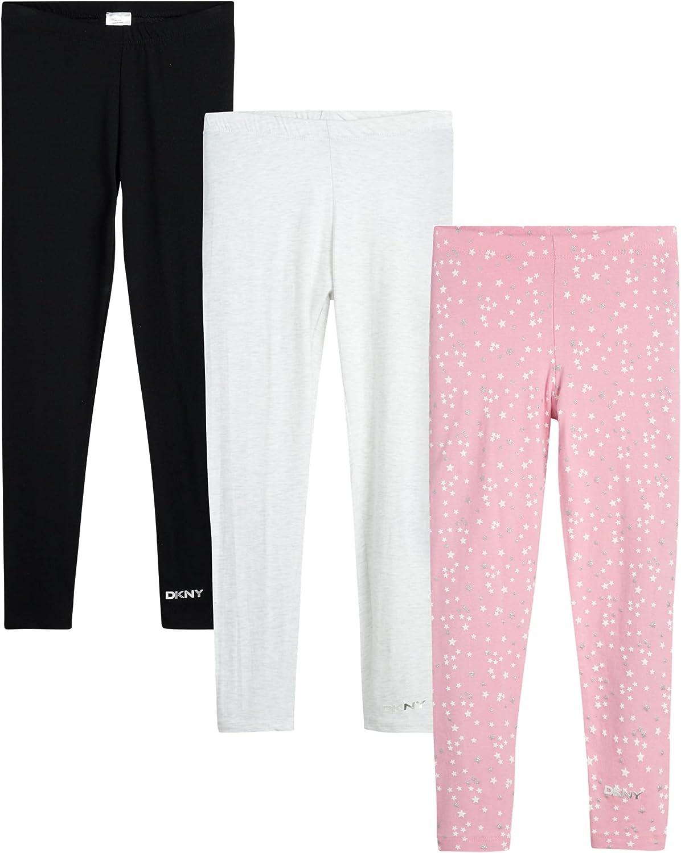 DKNY Girls' Leggings Multipack - 3 Pack Stretch Pants Kids Clothing Bundle