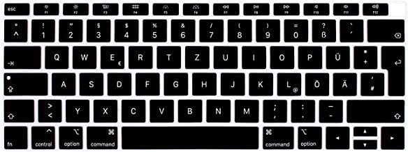 HRH Black German Language Silicone Keyboard Cover Skin for MacBook Newest Air 13 Inch 2018 Release A1932 with Retina Display and Touch ID,European Layout