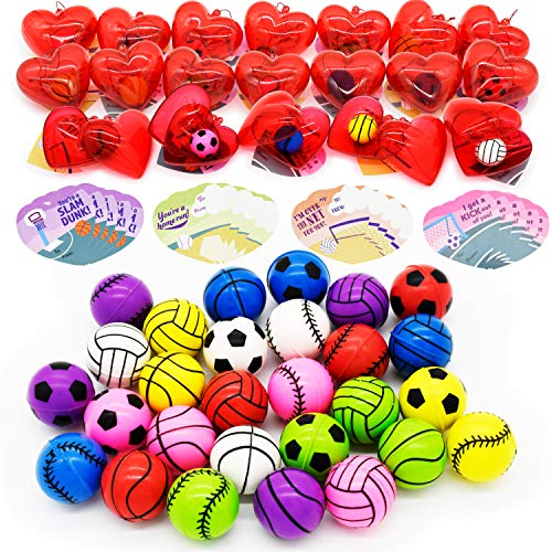 28 Packs Kids Valentine Party Favors Set with Sports Ball Bouncy Balls Filled Hearts and Valentine Cards for Kids Valentine Classroom Exchange, Kids Bouncy Balls for Class Exchange, Gift & Game Prize