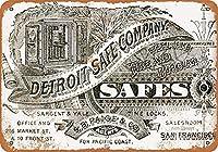 金属看板1884デトロイトセーフカンパニーレトロな装飾ティンサインバー、カフェ、アート、家の壁の装飾