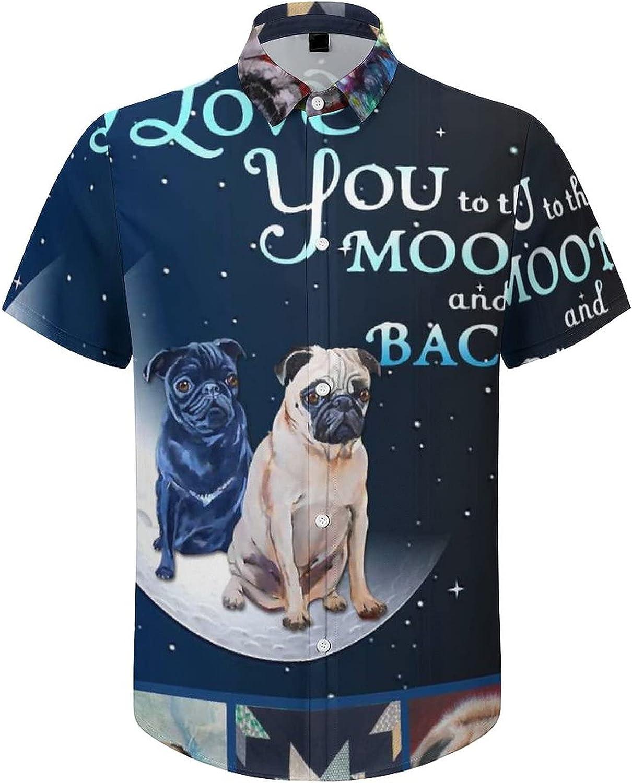 Hawaiian Shirts for Men Always Love My Pug Printed Beach Shirt Hawaiian Shirts