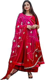 Monika Silk Mill Women's Pink Color Semi Stitched Long Anarkali Salwar Suit with embroidered Dupatta