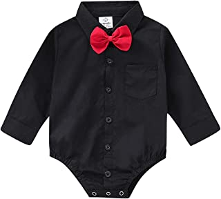 Infant Baby Boys Dress Shirt Bodysuit Formal Short Long Sleeve Rompers for Wedding Party