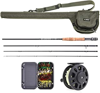 Lixada Fly Fishing Rod and Reel Combo with Carry Bag & 20 Flies - Premium 9' 4-Piece Carbon Fiber Rod with Lightweight ABS Reel - Complete Starter Package Fly Fishing Starter Kit