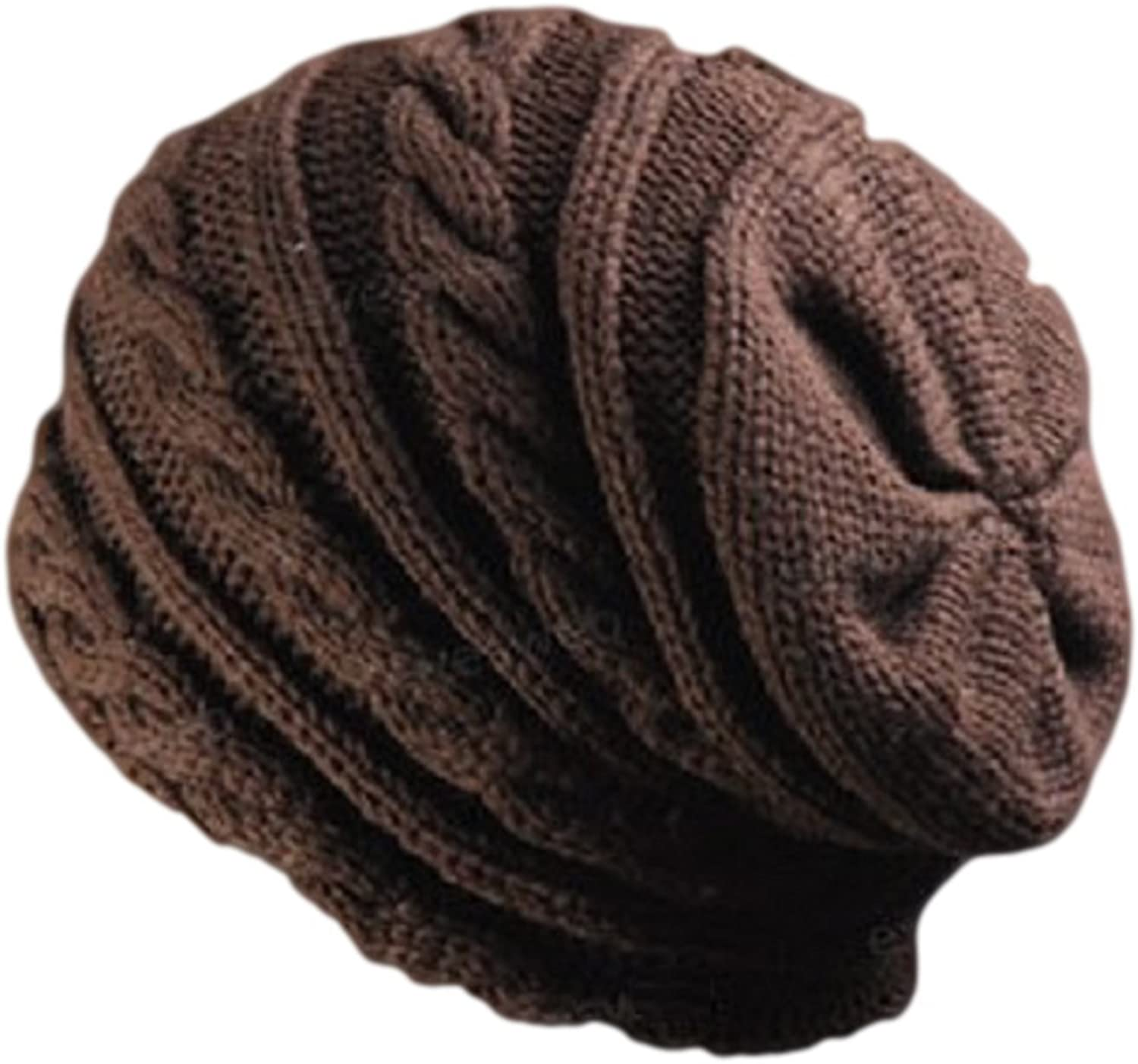 Unisex Oversized Knit Baggy Beanie Hat Cap Cable Knit Hat (Cable-Hat-Brown)