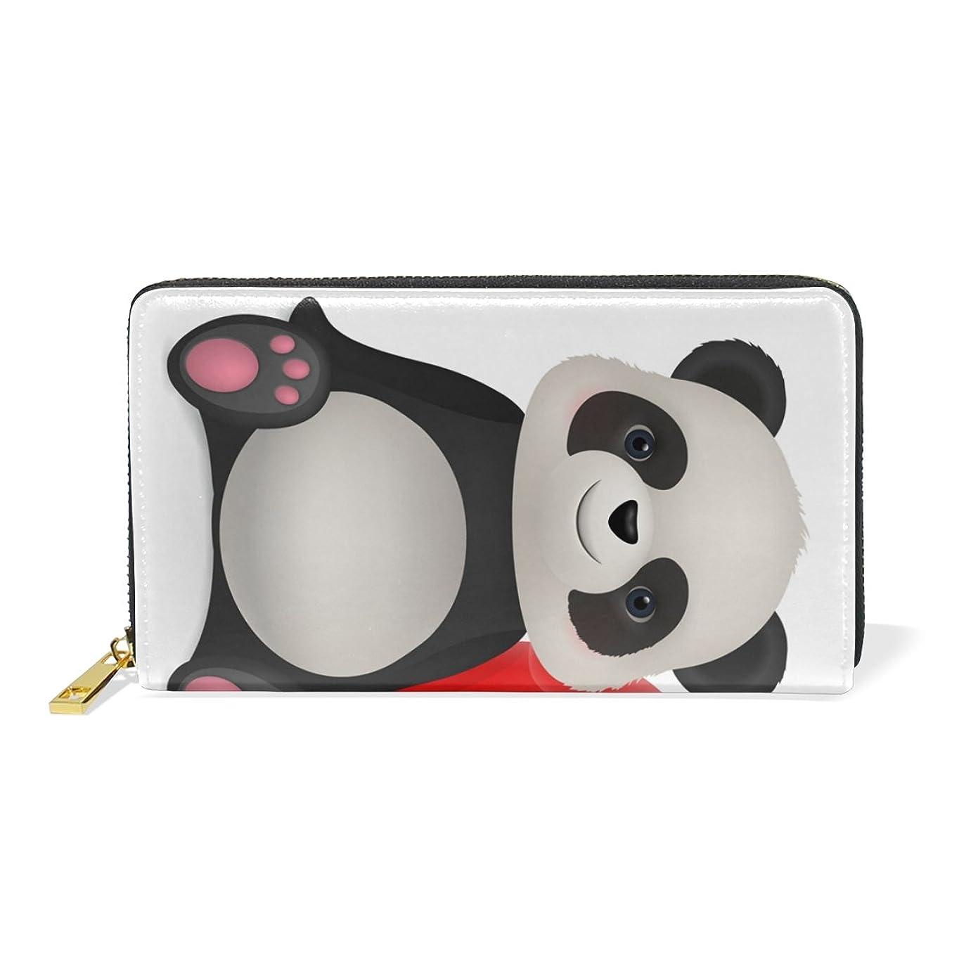 物理的な添加剤兵士AyuStyle 長財布 PU レザー panda パンダ 萌え萌え 可愛い ラウンド ファスナー 小銭入れあり お札入れ カード入れ 二つ折り 大容量 プレゼント レディース ギフト