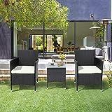 QWEPOI Juego de muebles de jardín de polirratán para 2 personas, 1 mesa y 2 sillones, resistente a la intemperie, para jardín, balcón y terraza, color negro