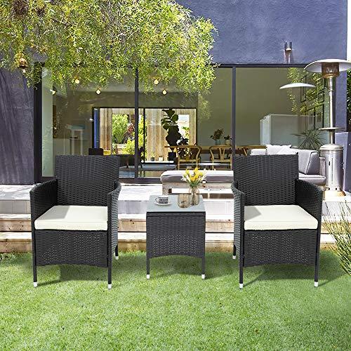 Leisure Zone Polyrattan Balkonmöbel Set 2 Personen–1 Tisch & 2 Sessel–Wetterfeste Gartenmöbel Set–für Garten, Balkon & Terrasse–inkl. Sitzkissen–Schwarz