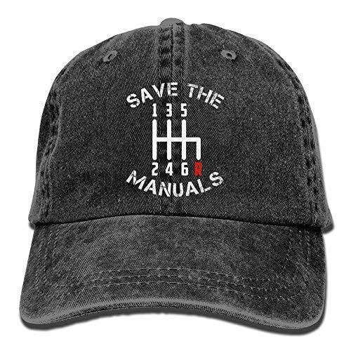Classic Baseball Cap, Save The Manuals Three Pedals 6 Speed Transmission Unisex Adjustable Cotton Denim Hat Washed Retro Gym Hat Cap Hat Red